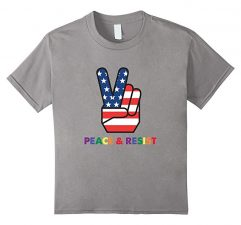 Peace & Resist American Peace Sign T-Shirt Political Trump Slate