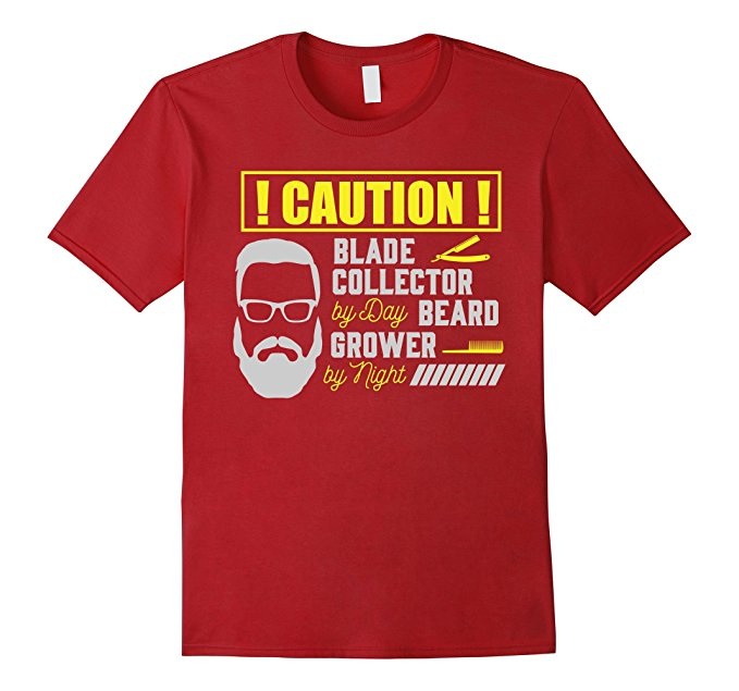 Mens Caution! Blade Collector By Day Beard Grower By Night T-Shirt 877