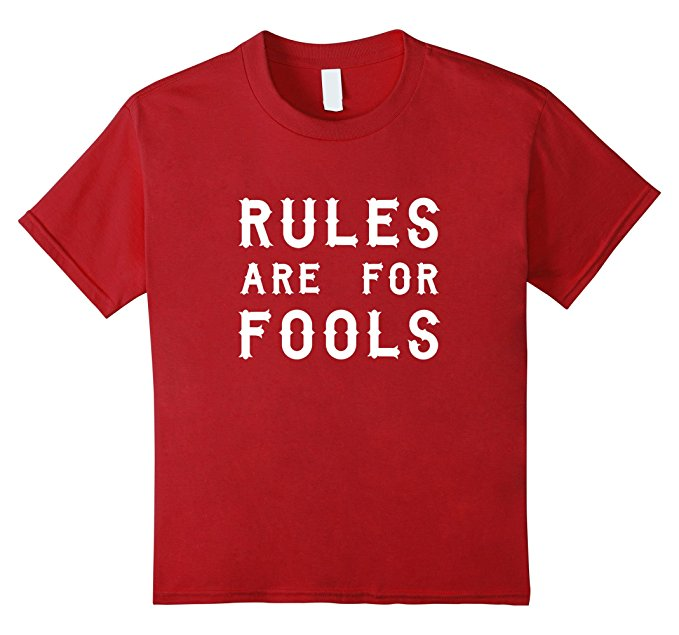 Unisex-Child Rules Are For Fools Funny Boys T Shirt 946