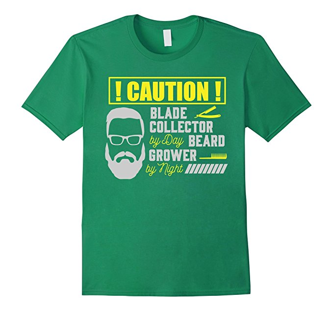 Mens Caution! Blade Collector By Day Beard Grower By Night T-Shirt 880